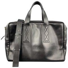 PAUL SMITH Black Leather Triple Handle Weekender Bag