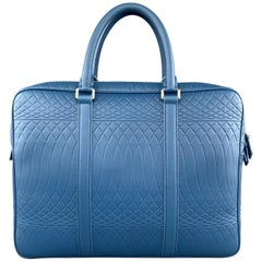 PAUL SMITH Blue Pattern Embossed Textured Leather Briefcase Bag