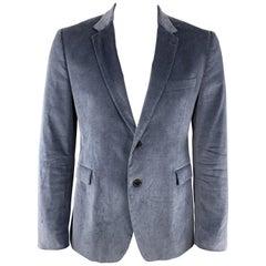 PAUL SMITH Chest Size 42 Steel Blue Velvet Notch Lapel Sport Coat