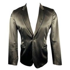 PAUL SMITH Chest Size M Slate Cotton Blend Satin Notch Lapel Sport Coat