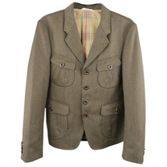 PAUL SMITH COLLECTION M Short Olive Wool Notch Lapel Military Sport Coat Jacket