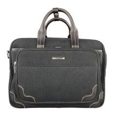 PAUL SMITH Contrast Stitch Black Canvas Leather Trim Work Bag