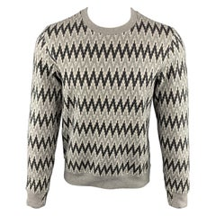 PAUL SMITH JEANS Size S Zig Zag Grey Cotton Crew-Neck Pullover Sweater