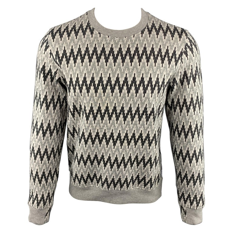 f1289f2a941a71 PAUL SMITH JEANS Size S Zig Zag Grey Cotton Crew-Neck Pullover Sweater For  Sale