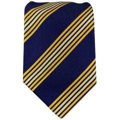 PAUL SMITH Navy & Yellow Diagonal Striped Silk Tie