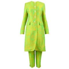 Paul Smith Neon Green Psychedelic Paisley Longline Jacket & Pant Suit 1990s