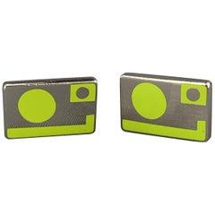 PAUL SMITH Silver Tone Green Geometric Rectabgle Metal Cuff Links