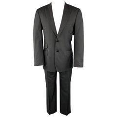 PAUL SMITH Size 38 Black Herringbone Wool Peak Lapel Suit