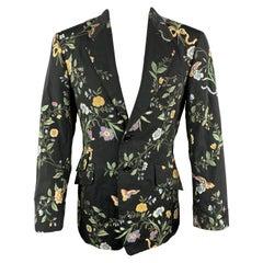 PAUL SMITH Size 40 Black Viscose Blend Notch Lapel Brocade Sport Coat
