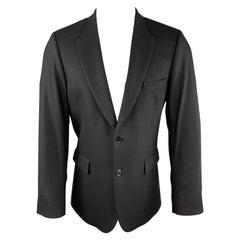 PAUL SMITH Size 40 Black Wool / Cashmere Peak Lapel Sport Coat