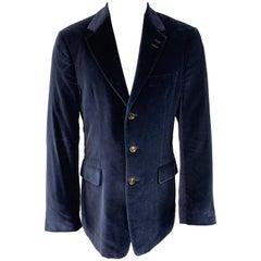 PAUL SMITH Size 40 Navy Velvet Notch Lapel Three Button Sport Coat
