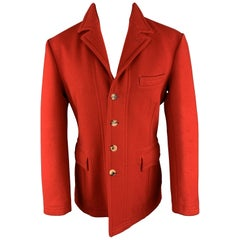 PAUL SMITH Size 40 Red Wool Notch Lapel Buttoned Coat