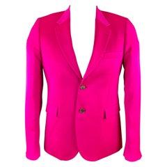 PAUL SMITH Size 40 Shocking Pink Wool Blend Notch Lapel Sport Coat