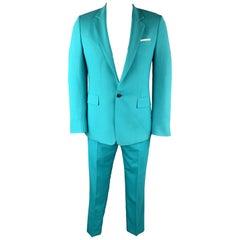 PAUL SMITH Size 42 Aqua Wool Notch Lapel Mock Pocket Square Suit