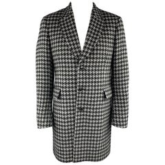 PAUL SMITH Size 42 Black & Teal Gray Houndstooth Wool / Mohair Peak Lapel Coat