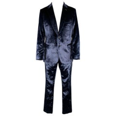 PAUL SMITH Size 42 Regular Navy Velvet Notch Lapel Suit