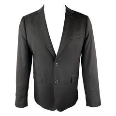 PAUL SMITH Size 42 Short Solid Black Wool Notch Lapel Sport Coat
