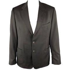 PAUL SMITH Size 44 Black Wool / Cashmere Notch Lapel Stitches Sport Coat