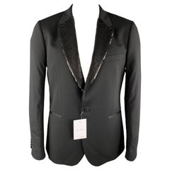 PAUL SMITH Size 44 Black Wool / Elastane Tuxedo Sequined Notch Lapel Sport Coat
