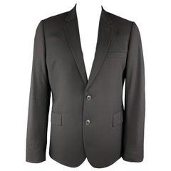 PAUL SMITH Size 44 Black Wool Twill Notch Lapel Sport Coat