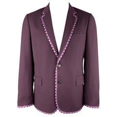 PAUL SMITH Size 44 Purple Wool Checkered Trim Notch Lapel Sport Coat