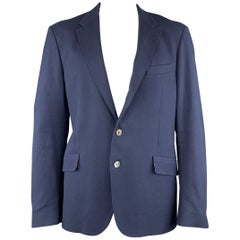 PAUL SMITH Size 44 Woven Navy Cotton Notch Lapel Sport Coat