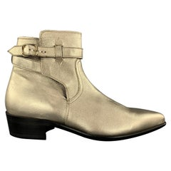 PAUL SMITH Size 9 Gold Metallic Leather Pointed DYLAN Ankle Boots