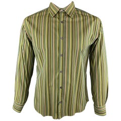 PAUL SMITH Size L Green Stripe Cotton Button Up Long Sleeve Shirt