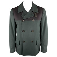 PAUL SMITH Size L Two Toned Green & Black Wool Double Breasted Peacoat