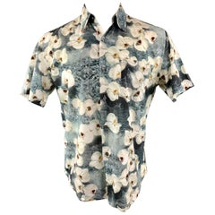 PAUL SMITH Size M Gray Floral Cotton Button Up Short Sleeve Shirt