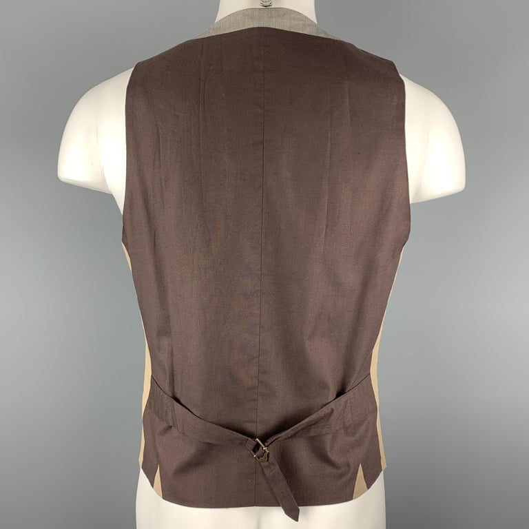 Men's PAUL SMITH Size M Gray Houndstooth Cotton Blend Buttoned Vest For Sale