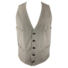 PAUL SMITH Size M Gray Houndstooth Cotton Blend Buttoned Vest