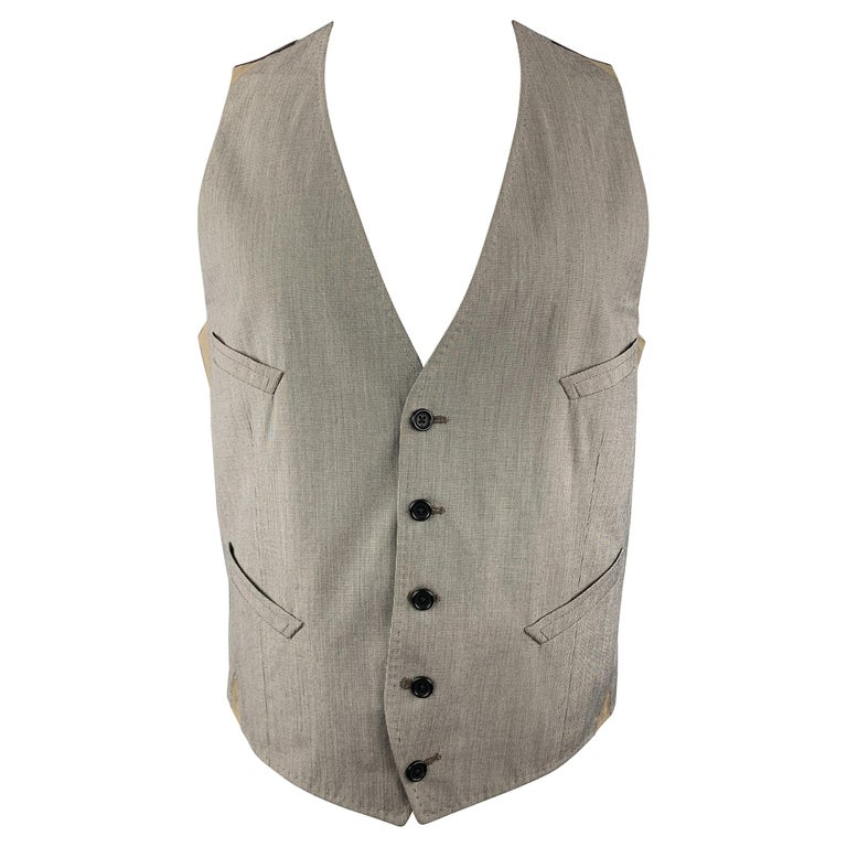 PAUL SMITH Size M Gray Houndstooth Cotton Blend Buttoned Vest For Sale