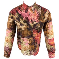 PAUL SMITH Size M Print Brown & Pink Cotton Button Up Long Sleeve Shirt