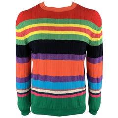 PAUL SMITH Size XL Multi-Color Stripe Cotton Blend Crew-Neck Pullover Sweater