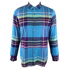 PAUL SMITH Size XL Plaid Aqua Cotton Button Up Pointed Collar Long Sleeve Shirt