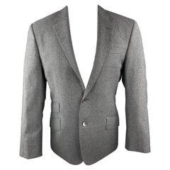 PAUL SMITH The Byard Size 38 Gray Grid Wool Notch Lapel Flap Pockets Sport Coat