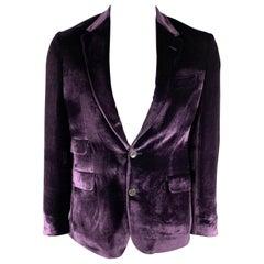 PAUL SMITH The Byard Size 40 Regular Purple Velvet Notch Lapel Sport Coat