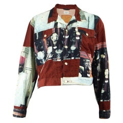 Paul Smith Vintage Men's Digital Print Wine Red Corduroy Jean Jacket, 1990s