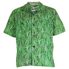 Paul Smith vintage men's grass digital print short sleeve shirt, 1990s