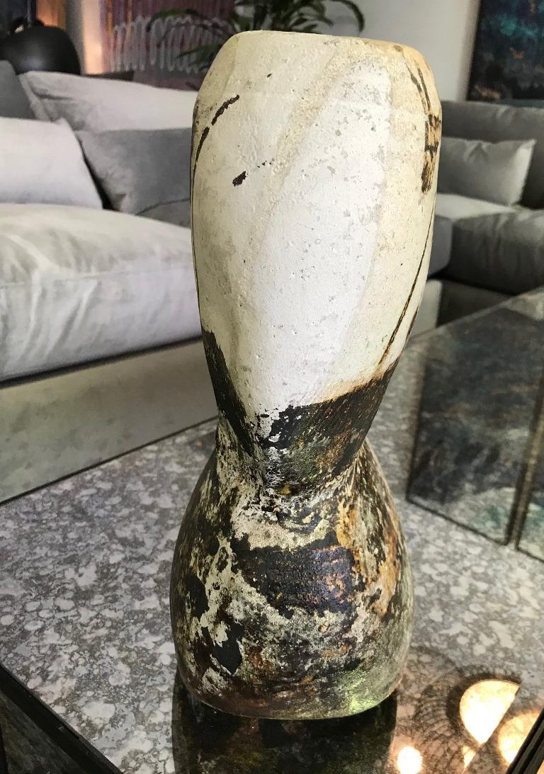 20th Century Paul Soldner Signed Large Raku Fired Mid-Century Modern Vessel Vase Sculpture For Sale