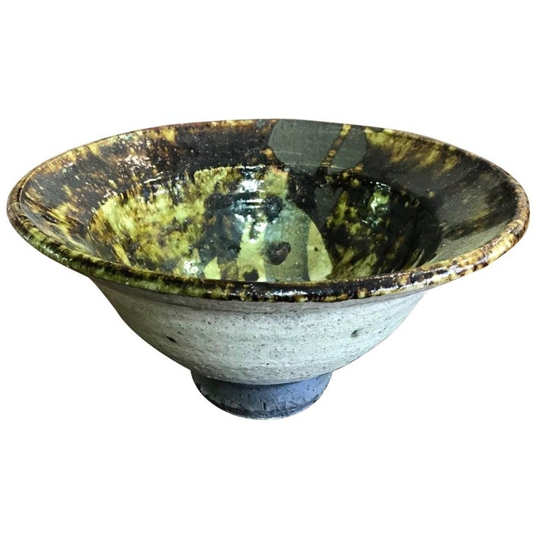 Paul Soldner Large Raku Fired Bowl For Sale