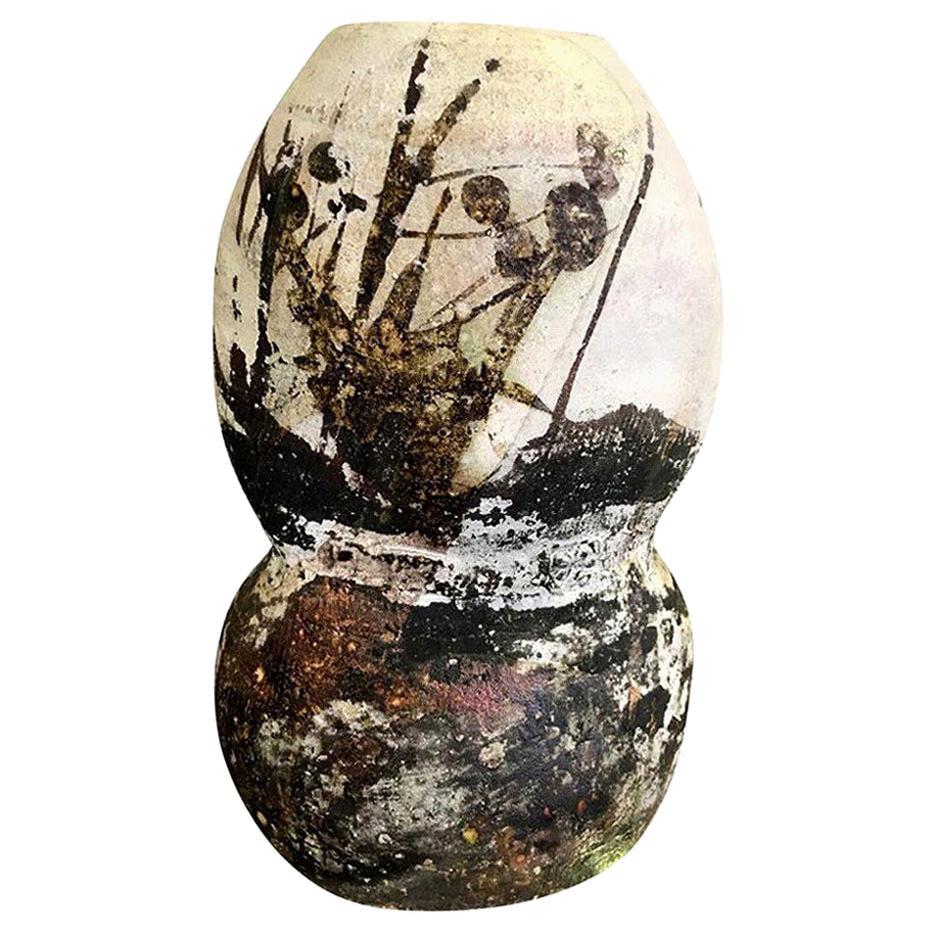 Paul Soldner Signed Large Raku Fired Mid-Century Modern Vessel Sculpture Vase