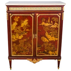 Paul Sormani 'French' Lacquer Louis XVI Style Chinoiseri Wood Cabinet