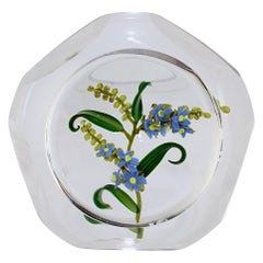 Paul Stankard Faceted Art Glass Paperweight with Lampwork Forget-Me-Not Flowers