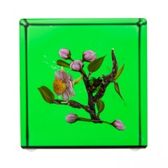 Paul Stankard Glass Paperweight Fine Art Green Apple Blossom w/honey Bee —Signed