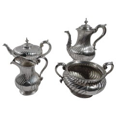 Paul Storr English Regency Sterling Silver Coffee and Tea Set