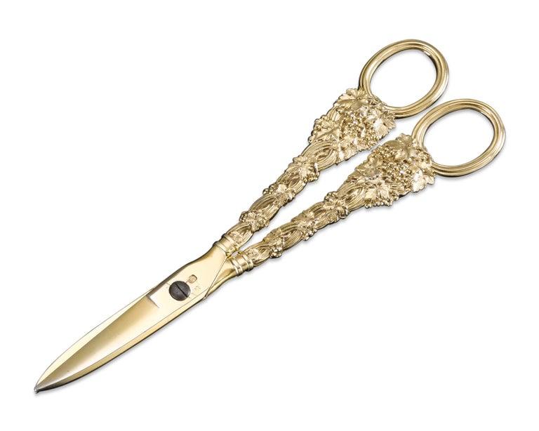 Regency Paul Storr Silver-Gilt Grape Shears For Sale