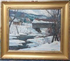 Paul Strisik Winter Covered Bridge, Period Oil Painting