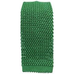 PAUL STUART Dark Green Textured Silk Knit Tie